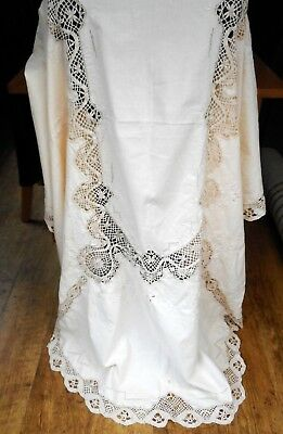 Madeira oval tablecloth in cream hand made lace inserts, raised hand embroidery