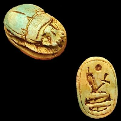 Rare Ancient Egyptian Authentic Carved Glazed Scarab Bead Seal 300 B.c.
