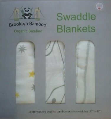 Brooklyn Bamboo Swaddle Receiving Blankets 3 Pack Organic Bamboo 47x47