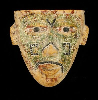 Vintage Mask Clay Stone Mexican Funeral Style Garden