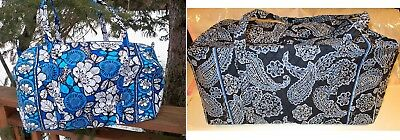 VERA BRADLEY Large Duffel Travel Bag College Blue Bandana Blue Bayou