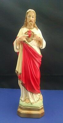 Vintage Our Lord Jesus Christ Sacred Heart Statue   12 1/2 inches tall