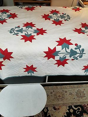 Vintage 1880's Turkey Red & Green Carolina Lily Applique Quilt