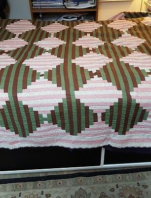 Courthouse Steps Log Cabin ANTIQUE QUILT