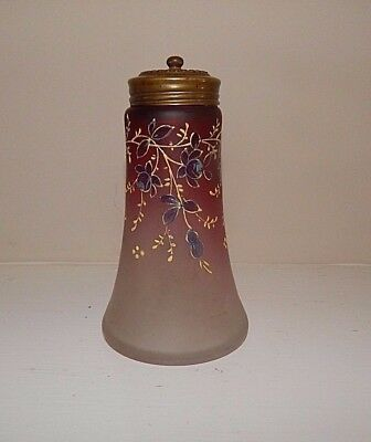 Antique Webb Hand Painted With Enamel Satin Art Glass Shaker or Talc Dispenser