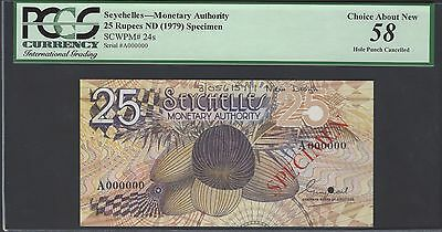 Seychelles 25 Rupees ND(1979) P24s  Specimen About Uncirculated