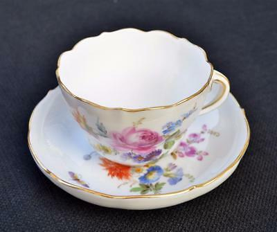 Ant c.1900 MEISSEN Crossed Swards FLORAL BOUQUET Twig Handle Set Cup & Saucer 1
