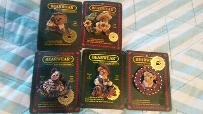 New Boyds Bears Bearwear Wearable Pin Lot Of 5 Pins On Original Cards