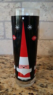"Dairy Queen DQ Happy Santa Black and RedGlass 7"" Tumbler"
