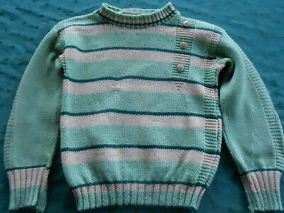 Antique Hand Knit Little Boys Green Sweater In Fair Condition, Circa 1940