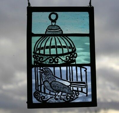 Stained Glass Blue Bird and Cage. Craftsman Made Christmas Gift for a Bird Lover