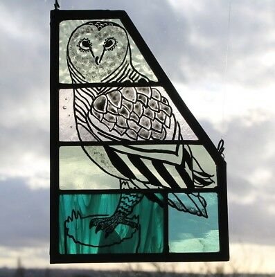 Stained Glass Painted Owl Panel on Green and Pale Amber Glass. Owl Lover Gift