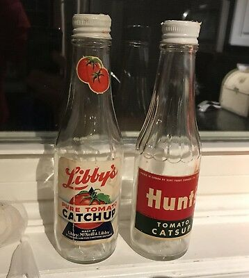 Vintage Catsup bottles catchup ketchup. Pair. Hunts Libby's