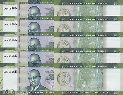 LOT, Liberia 100 Dollars (2016) p35 x 5 PCS UNC