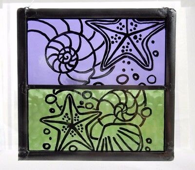 Stained Glass Painted Seashore Shell Panel.Purple and Green Glass. Birthday Gift