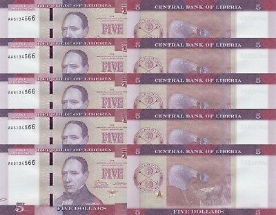 LOT, Liberia 5 Dollars (2016) p31 x 5 PCS UNC