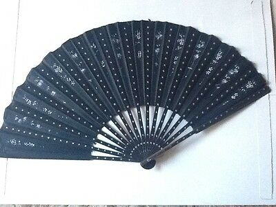 Antique 1800S Black Hand Painted Mourning Fan