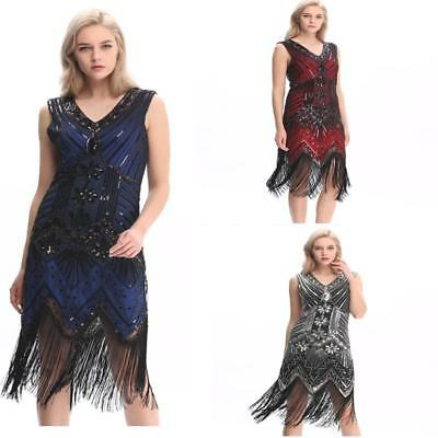 Gatsby Dress Flapper 1920s Beaded Great Party Vintage Sequin Womens S Fringed