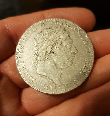 Beautiful 1818 SILVER CROWN Coin GEORGE III LIX Covered in gold lustre all over