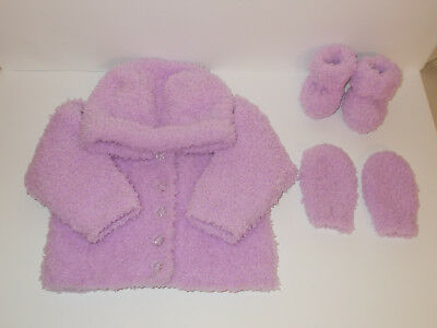 Hand Knitted Baby Jacket Hooded Cardigan Mittens Booties Lilac 0-3 Mnths Soft