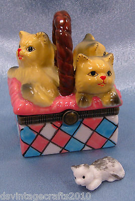 Cat #21 Cats Three In A Basket Porcelain Trinket Box Hand Painted