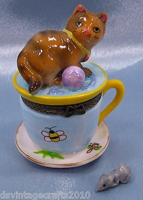 Cat #5 Cat On A Teacup Porcelain Trinket Box Hand Painted