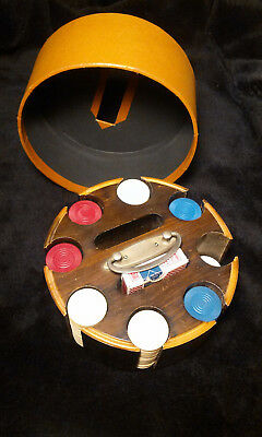 Vintage Poker Set Wooden Carousel Caddy with Card Holders and Handle