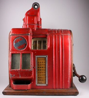 Antique Columbia Red Gambling Slot Machine W/ Wood Churchill Casing Man Cave Art