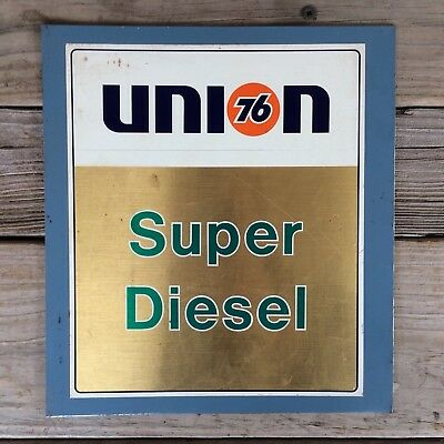"Vintage Union 76 Super Diesel Gas Pump Metal Sign Plate 9.5"" x 10.5"""