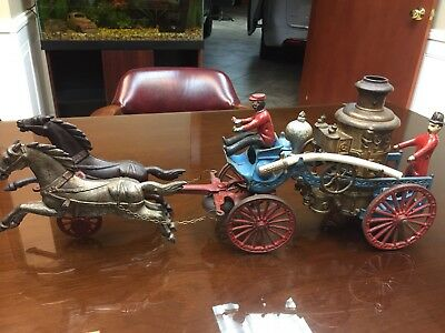Antique Late 1890's Cast Iron Toy 2-Horse Drawn Fire Pumper Wagon Hubley, Circus