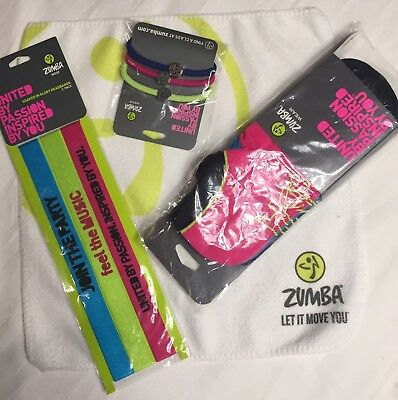 Zumba NEW 3 Rare Socks, 3 Headbands, 3 Hair Ties,Towel set lot NWT