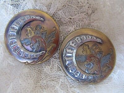 Pair of antique etched brass buttons with steel crescent - Large - need a home!