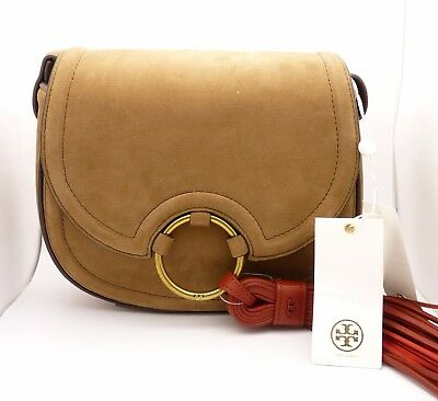 d67893fa95b TORY BURCH Tassel Mini Crossbody Bag Suede Leather Saddlebag Brown FREE  SHIPPING