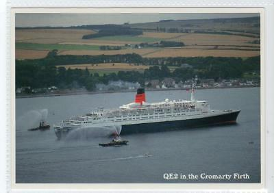 THE QE2 IN THE CROMARTY FIRTH: Shipping postcard (C31115)