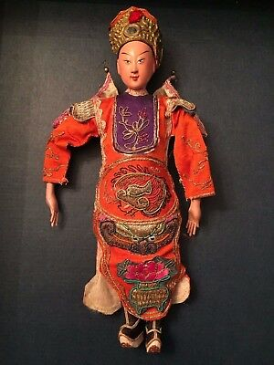 SIGNED ANTIQUE CHINESE Male OPERA DOLL ~ FINE EMBROIDERED Orange SILK - Puppet