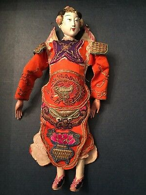 SIGNED ANTIQUE CHINESE Female OPERA DOLL ~ FINE EMBROIDERED Orange SILK - Puppet