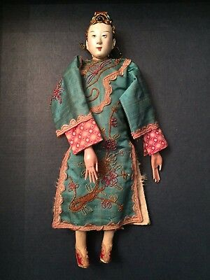 SIGNED ANTIQUE CHINESE Female OPERA DOLL ~ FINE EMBROIDERED AQUA SILK - Puppet