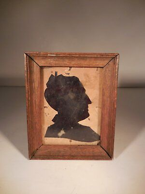 AAFA Signed Dated Paper Cut Silhouette Portrait of Old Women Antique Silhouette