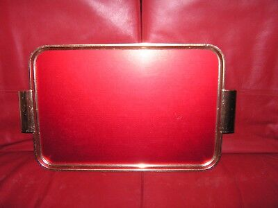 """Vintage Red Anodised Aluminium drinks cocktail tea tray 18"""" x 12"""" excluding hand"""