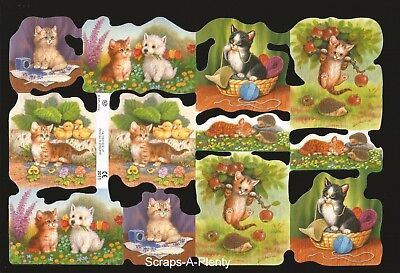 Mamelok Embossed English Scrap Die Cut -Adorable Kittens / Cats  CUTE    2011