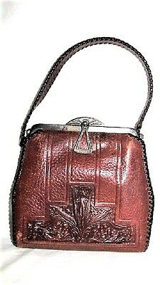 Vtg Antique 1921 Art Deco Floral Hand Tooled Brown Leather Purse Turnloc Closing