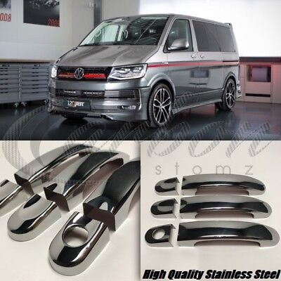 VW T6 Chrome Stainless Steel Door Handle Covers 3 Doors - High Quality Set 2016+