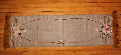 Antique Vtg Arts Crafts Linen Hand Stitched Embroidered Runner Lily Pad Flower