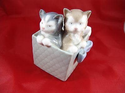 lladro Nao Kittens In A Box 1988