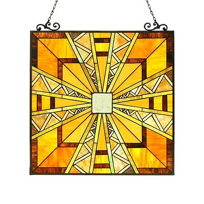 """PAIR Stained Glass Tiffany Style Window Panel Mission Arts & Crafts 24.5"""" x 26"""""""