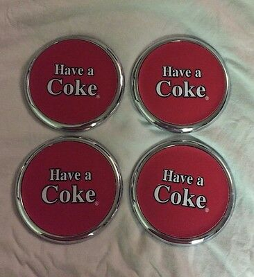4 Have a Coke Chrome Style Coasters. Excellent Condition