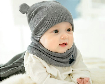 Baby Boy and Girl Winter Hat Beanie and Scarf for 3-18 months