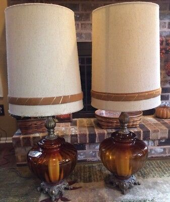 2 Huge 1972Vintage Mid Century Amber Glass 3 Way Lamps  With Original Shades Euc