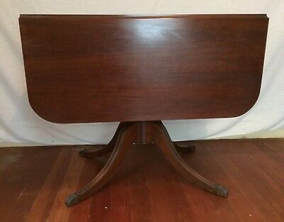 "Vintage ""DUNCAN PHYFE"" STYLE PEDESTAL DROP-LEAF DINING TABLE and PAD"