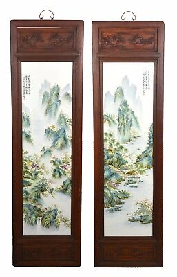 Large Pair of Chinese Painting Landscape Porcelain Wall Hanging Plaque - Marked